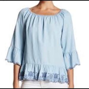 Democracy | Chambray Embroidered Top | Size XL